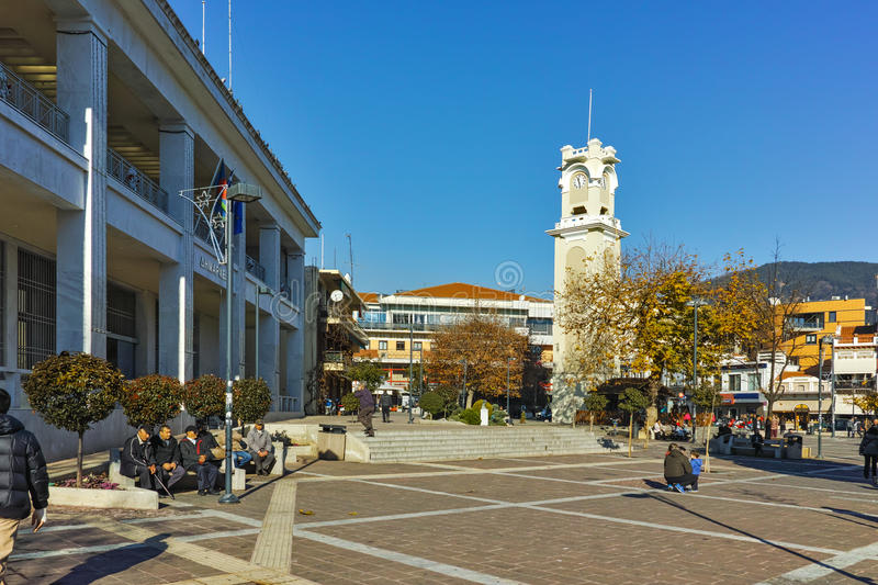 Clock tower in the center of town of Xanthi, Greece stock images