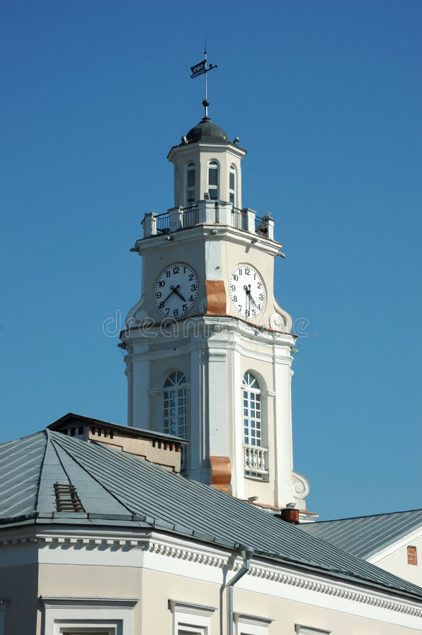 Clock tower or city hall in Vitebsk royalty free stock photography