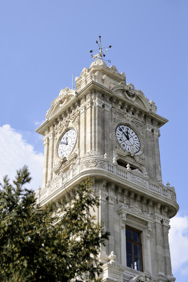 Clock tower dolmabahce, istanbul royalty free stock images