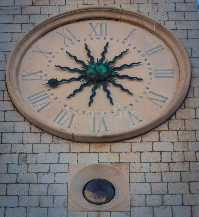 Clock tower in Dubrovnik. The medieval clock tower in Dubrovnik Croatia royalty free stock photo