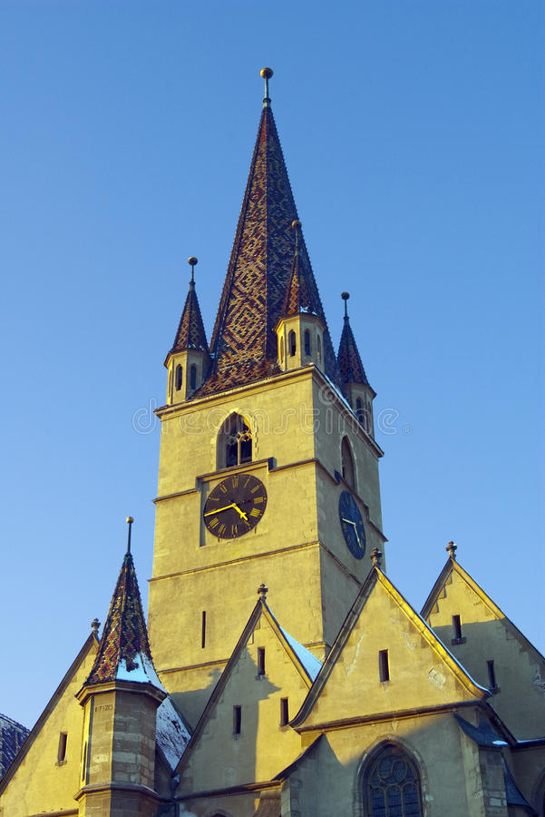 Download Clock Tower Gothic Luteran Church Sibiu In Winter Stock Photo - Image: 12768992