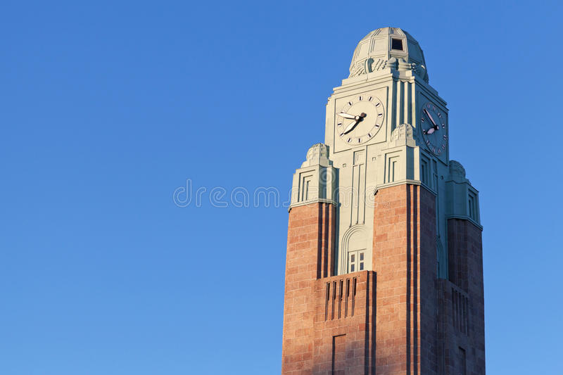 Clock tower of Helsinki central railway station stock photo