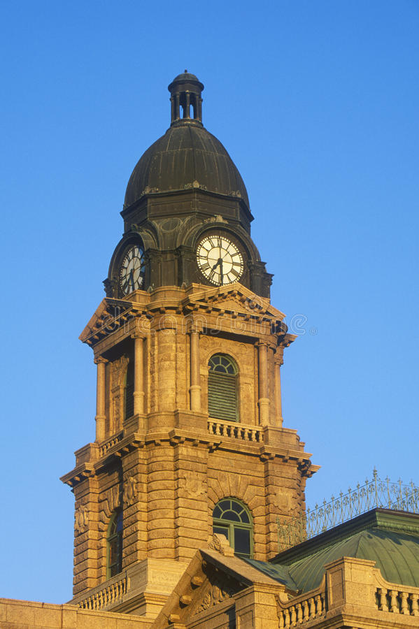 Clock Tower of historic courthouse in morning light, Ft. Worth, TX royalty free stock photography