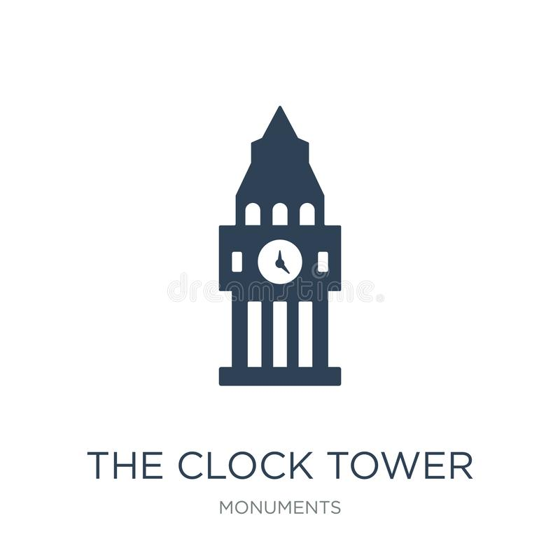 The clock tower icon in trendy design style. the clock tower icon isolated on white background. the clock tower vector icon simple. And modern flat symbol for royalty free illustration