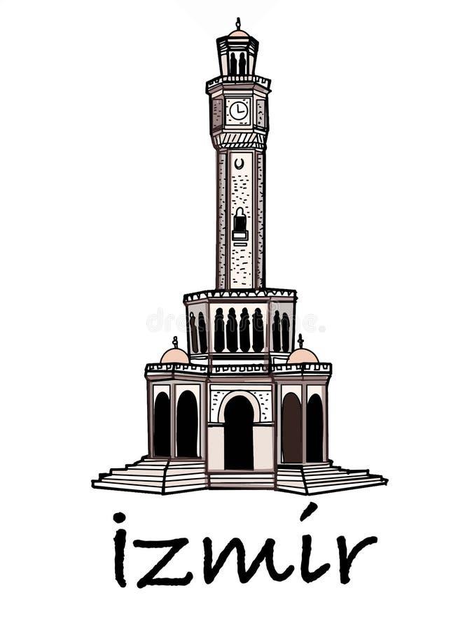 Clock tower illustration izmir turkey drawing white background vector illustration