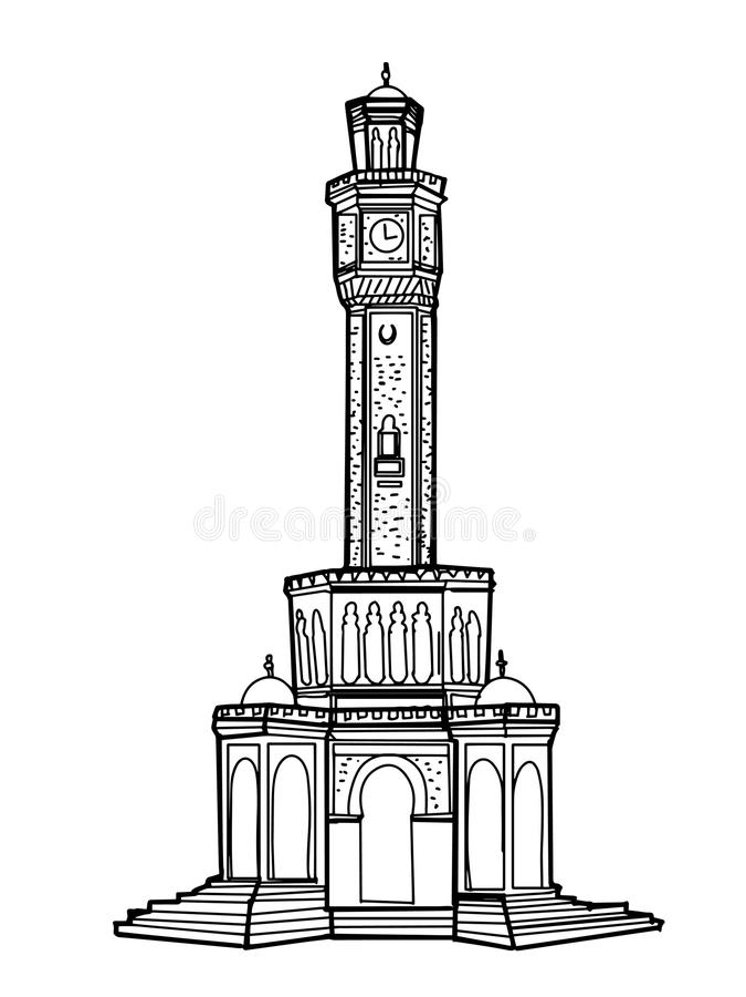 clock tower illustration izmir turkey drawing white background royalty free illustration