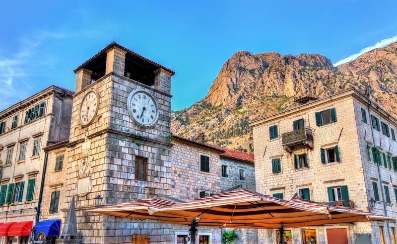 Clock Tower inside the old town of Kotor in Montenegro royalty free stock photography