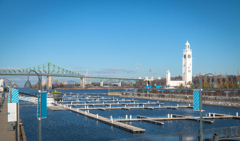 Clock Tower and Jacques Cartier Bridge at Old Port - Montreal, Quebec, Canada stock photos