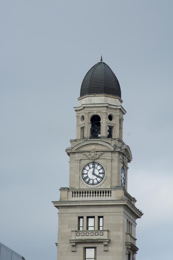 Clock tower in Marietta Ohio. The clock tower in Marietta Ohio on the historic city building in downtown area. a landmark in the area stock images