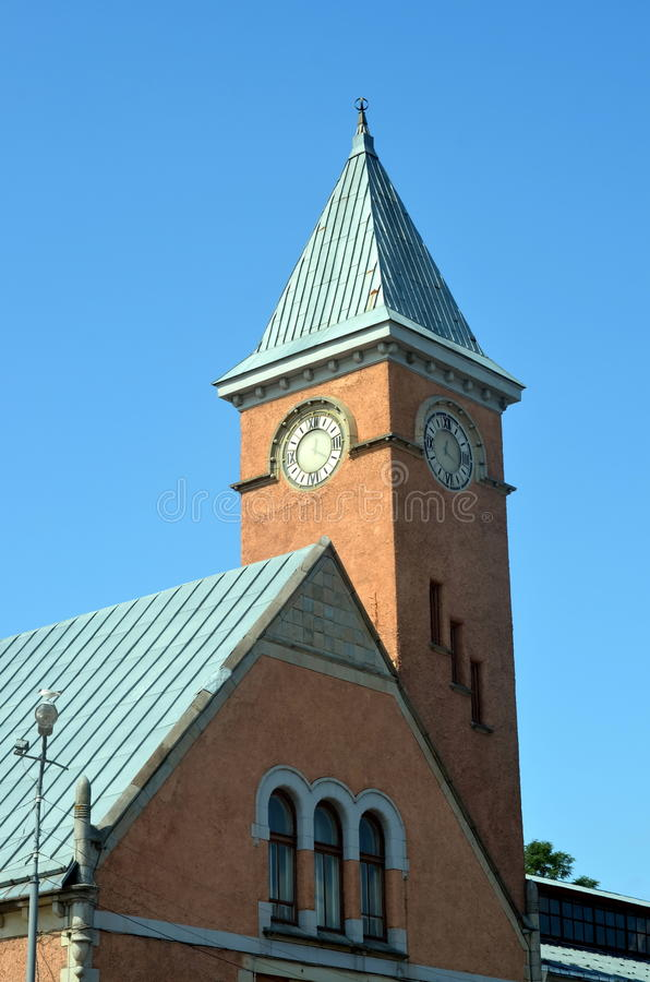 Clock tower of Market Building in Vyborg city stock photography