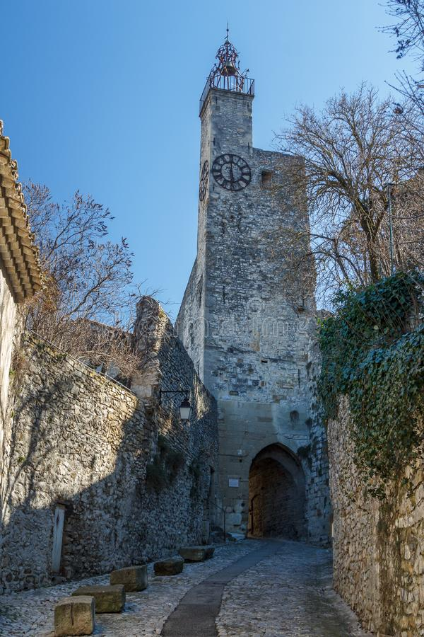 Clock tower in the medieval village Vaison-la-Romaine, Provence stock images