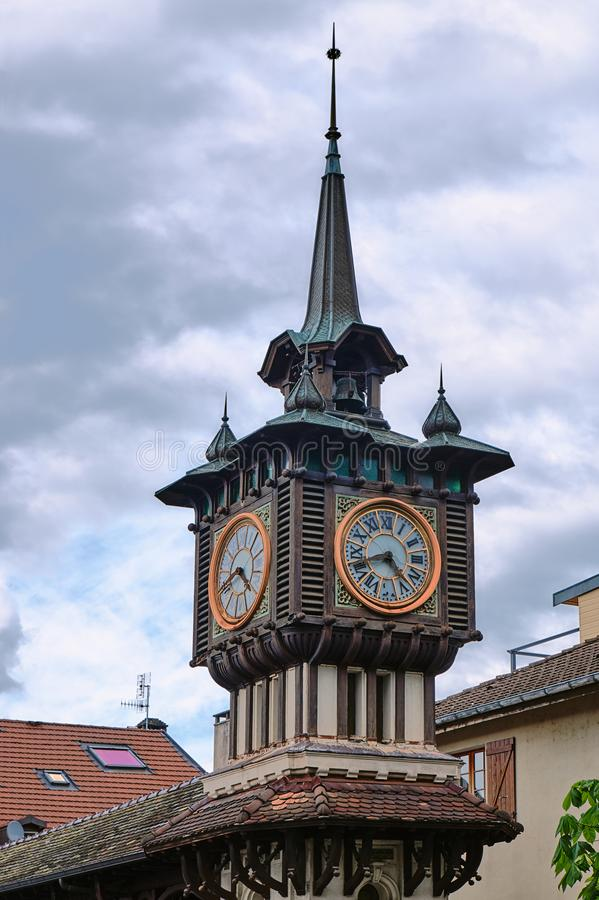 The clock tower of the mineral water pump room. In the city of Evian in France stock photos