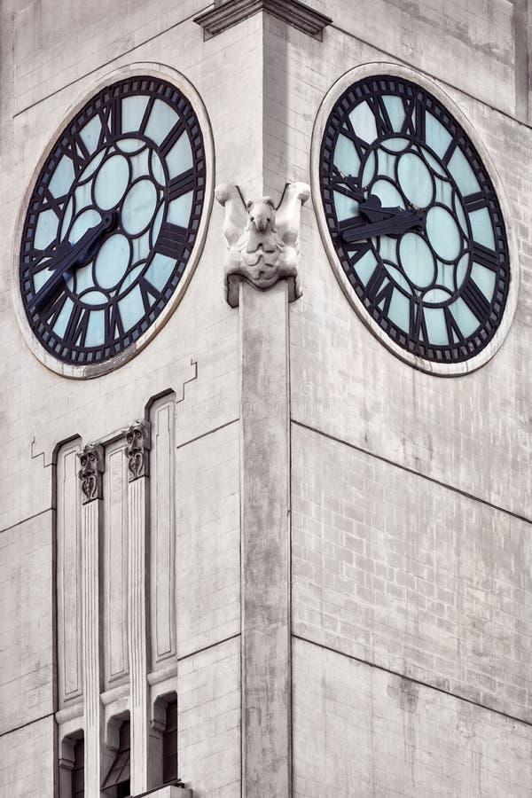 Clock tower in Montreal Quebec, Canada. stock photos
