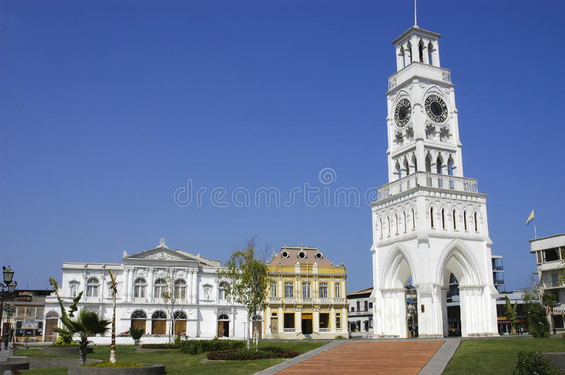Iquique Chile. Clock Tower and municipal theater in the parade ground Arturo Prat, Iquique city. Region of Tarapaca Chile royalty free stock photography