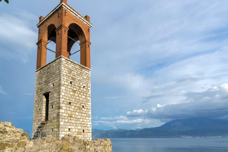 Clock tower in Nafpaktos town, Greece. Clock tower in Nafpaktos town, Western Greece royalty free stock photos