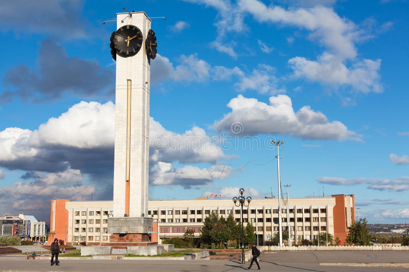 The clock tower near the administration building royalty free stock photo