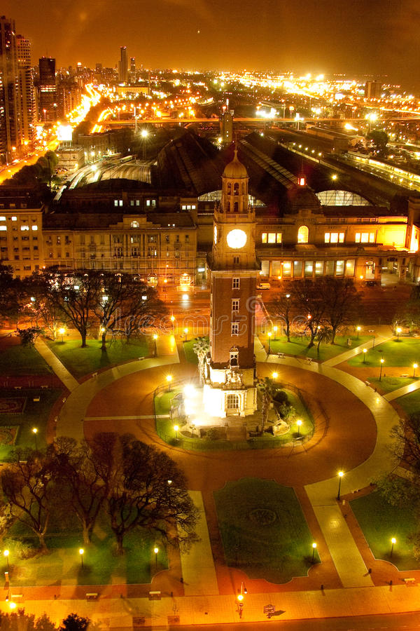 Clock tower at night stock image