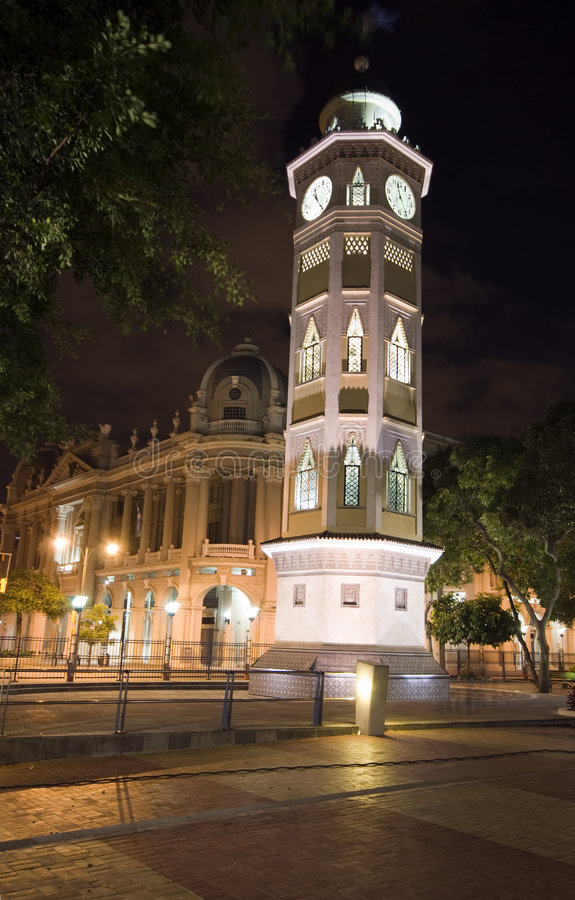 Free Clock Tower Night Guayaquil Ecuador Royalty Free Stock Images - 4803419