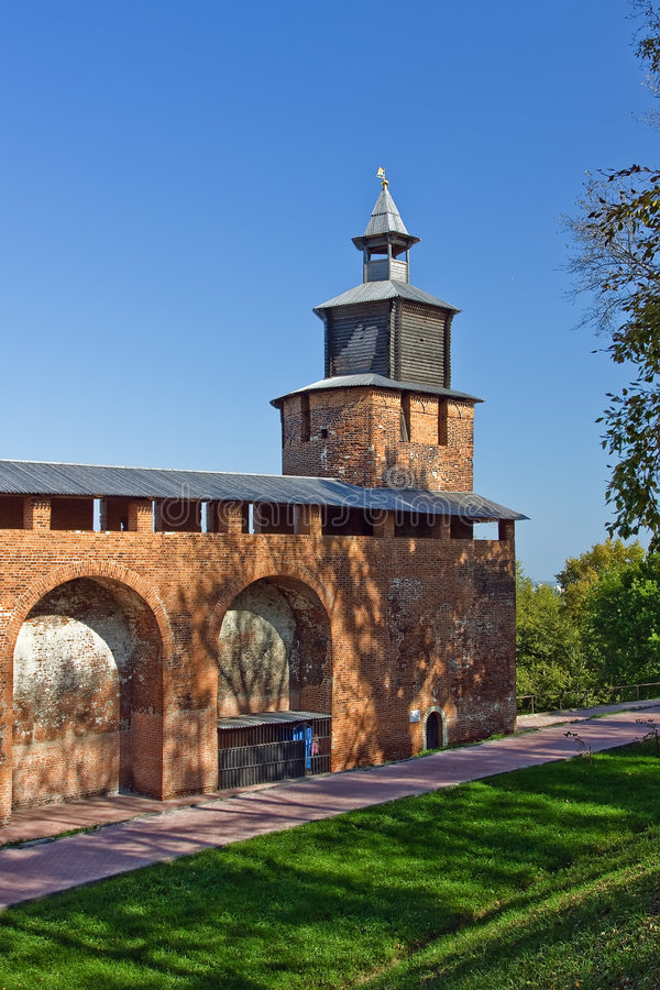 Clock tower of Nizhny Novgorod kremlin. Russia stock photo