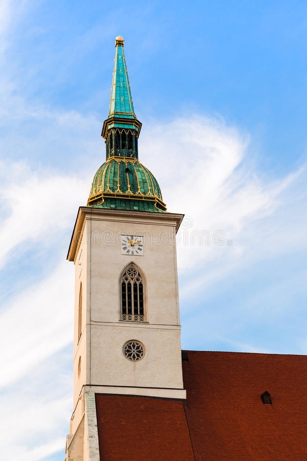 Free Clock Tower Of St. Martin Cathedral In Bratislava Stock Photography - 61289782