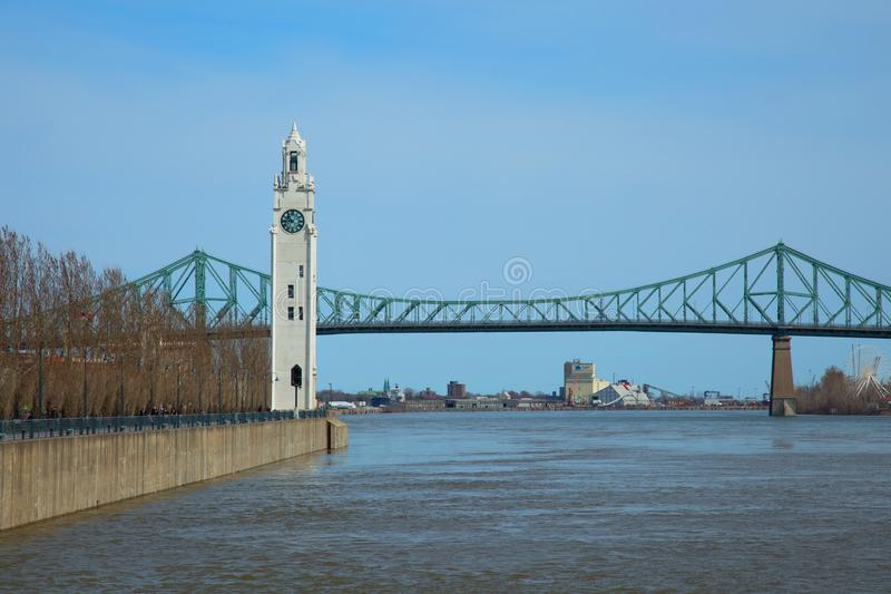 Clock tower in old port in Montreal in Canada royalty free stock images