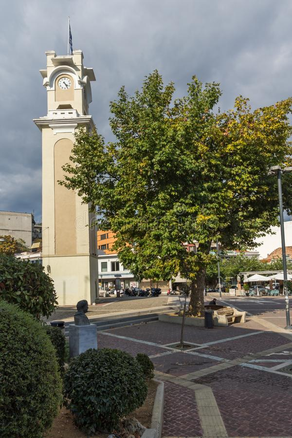 Clock tower in old town of Xanthi, East Macedonia and Thrace, Greece. XANTHI, GREECE - SEPTEMBER 23, 2017: Clock tower in old town of Xanthi, East Macedonia and royalty free stock images