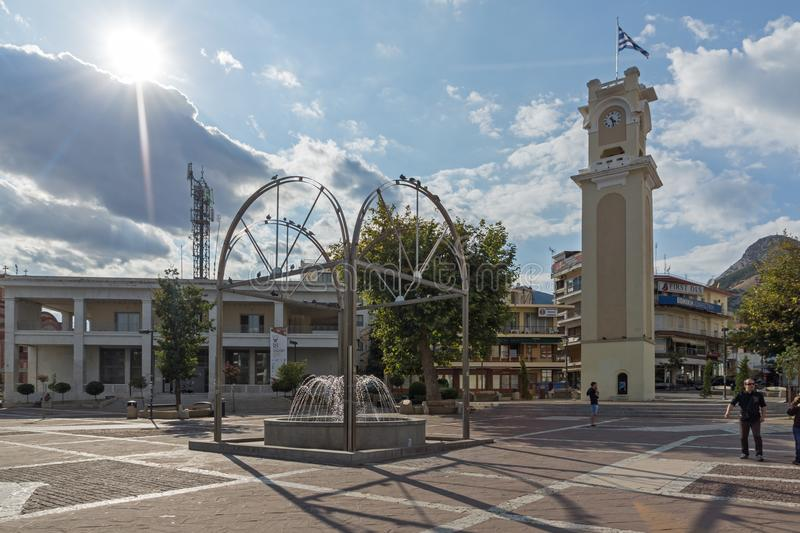 Clock tower in old town of Xanthi, East Macedonia and Thrace, Greece royalty free stock photos