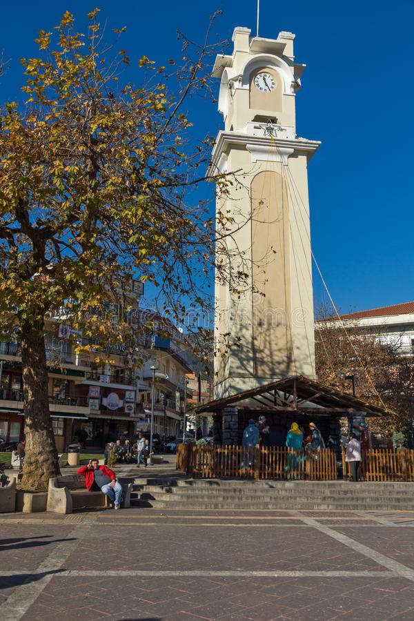 Clock tower in old town of Xanthi, East Macedonia and Thrace, Greece. XANTHI, GREECE - SEPTEMBER 23, 2017: Clock tower in old town of Xanthi, East Macedonia and stock image