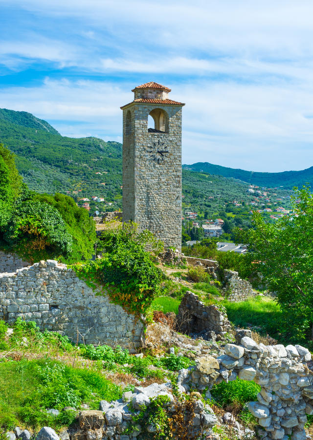The clock tower. Is one of the most preserved parts in the ruined fortress, Stari Bar, Montenegro stock photos