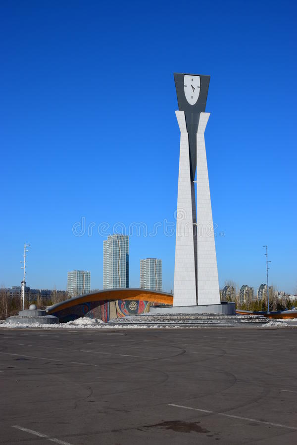 Clock tower of original design in Astana. / Kazakhstan in winter royalty free stock photography