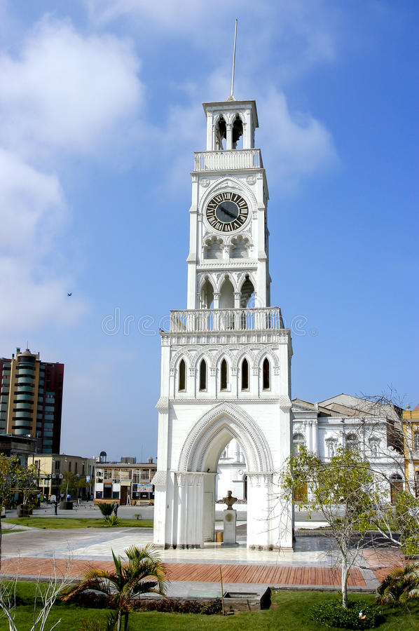 Iquique Chile. Clock tower in the parade ground in Iquique, Tarapacá Region, Chile royalty free stock photo