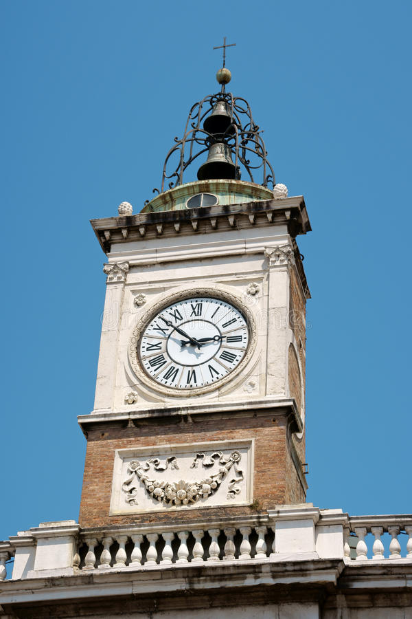Clock tower in Piazza del Popolo, Ravenna royalty free stock image