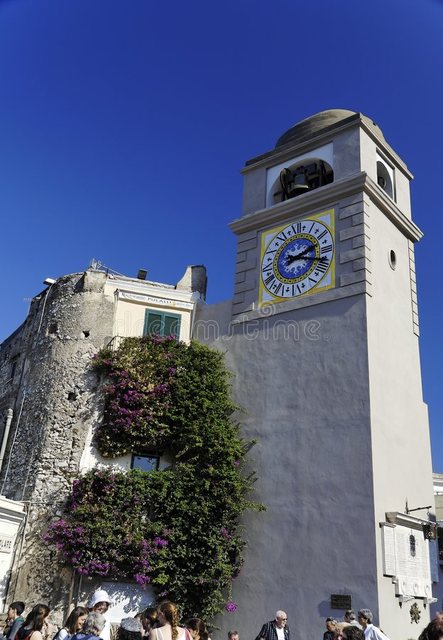 Download Clock Tower Piazza Umberto I Capri Stock Image - Image of europe, housing: 1662639