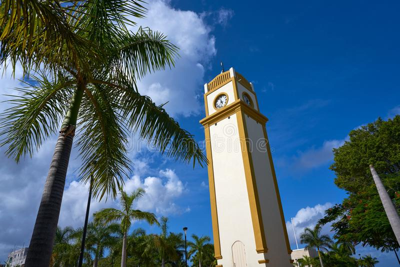 Clock tower in Cozumel Island of Mexico stock photo