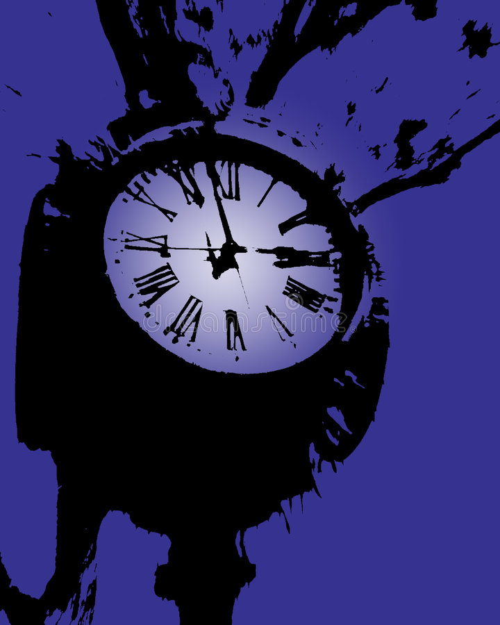 Clock tower purple vector illustration