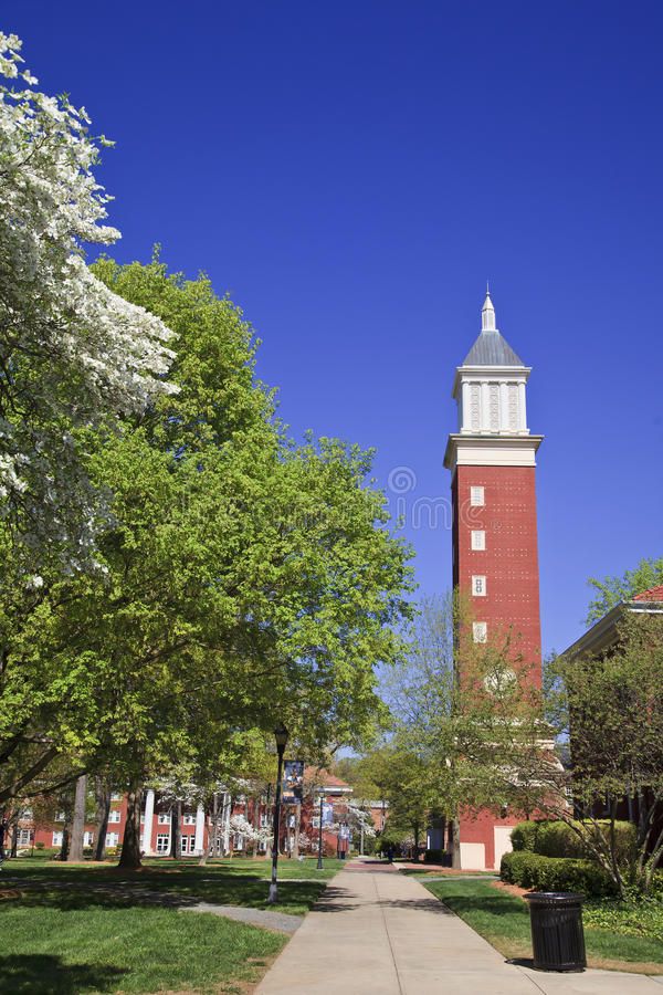 Clock Tower at Queens University in Charlotte royalty free stock photos