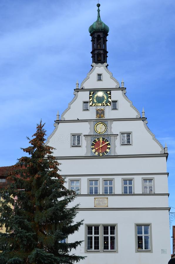 Clock Tower in Rothenburg ob der Tauber, Germany stock photos