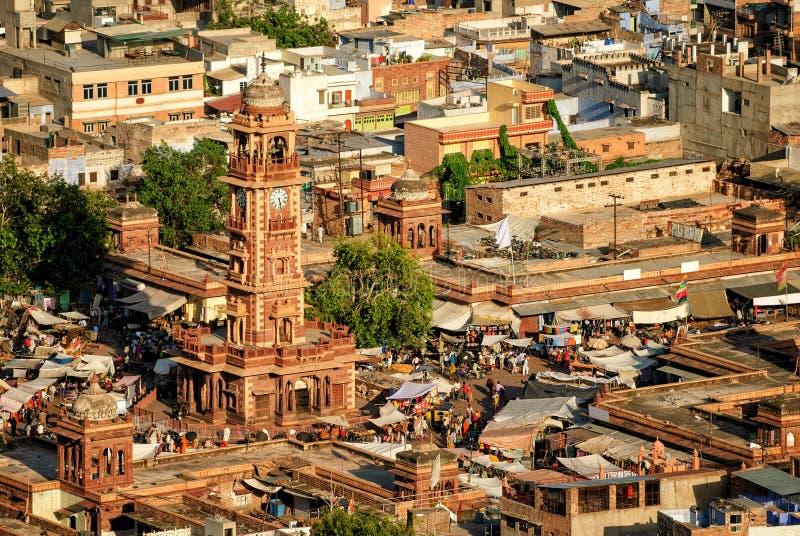 The Clock tower and Sadar market, Jodhpur, India. Ghanta Ghar, the clock tower of Rajasthan, and Sadar market in the old town of Jodhpur, India stock photo