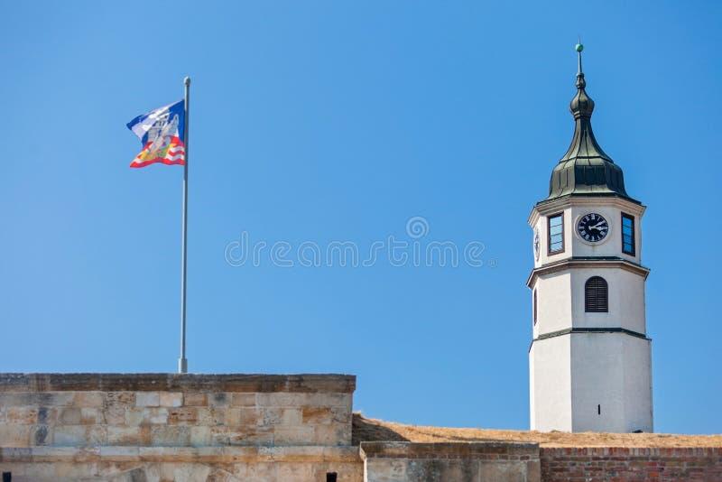Clock Tower (Sahat kula). In Belgrade fortress, Serbia royalty free stock image