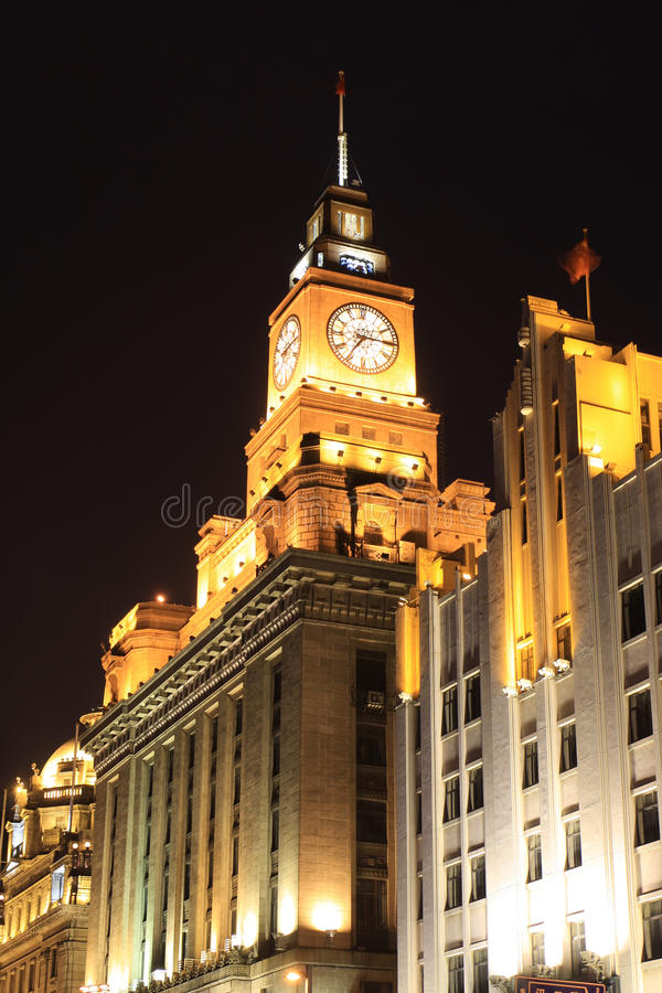 Clock Tower Shanghai Bund Night Customs stock photos