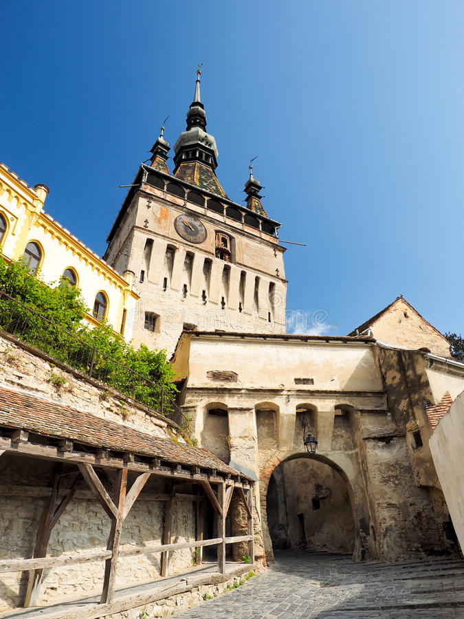 The Clock Tower in Sighisoara. The Clock Tower Romanian Turnul cu Ceas is a major landmark in Sighisoara stock images