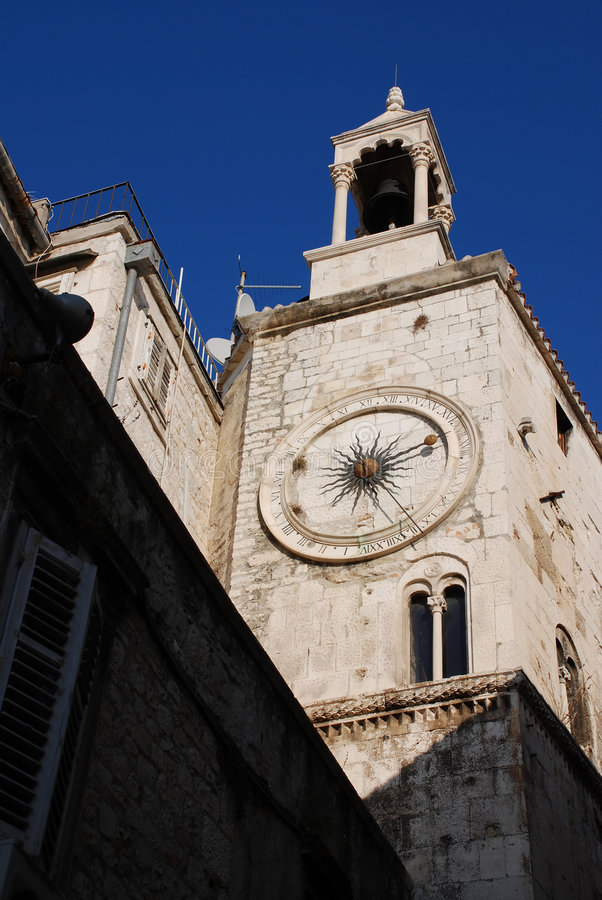 Clock tower in Split. Famous Clock Tower In Split royalty free stock photos