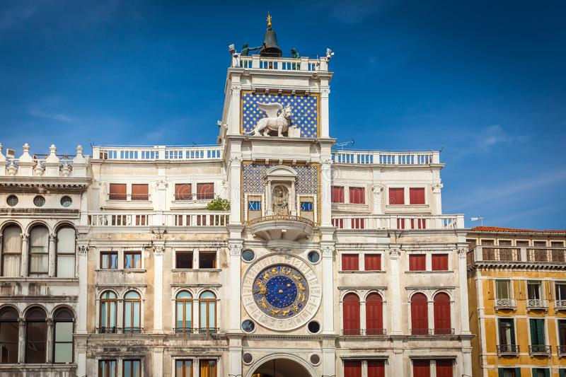 Clock Tower in St Mark`s Square in Venice stock photography