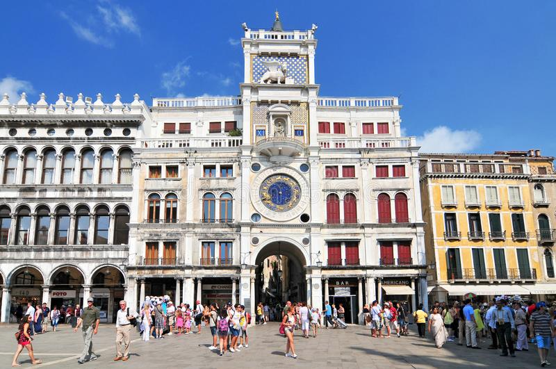 The clock tower of St. Mark Torre dell`Orologio in Venice Italy stock photos
