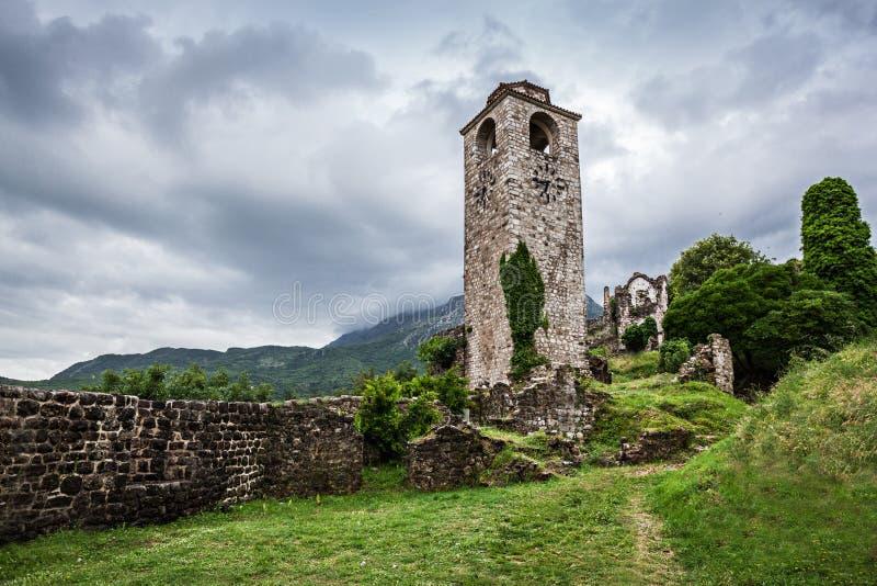 Clock Tower in Stari Grad. (Old Town), Bar, Montenegro royalty free stock photo