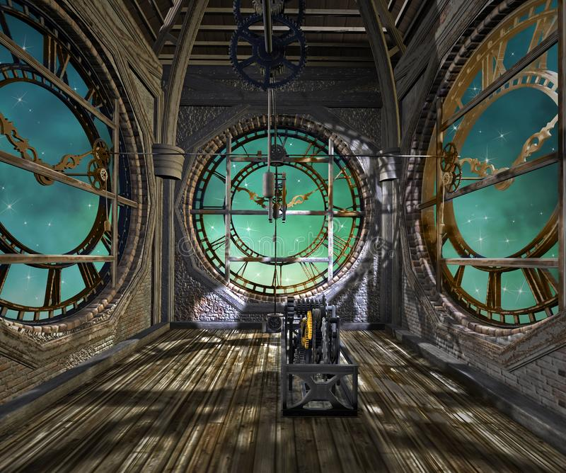 The clock tower steampunk background royalty free illustration