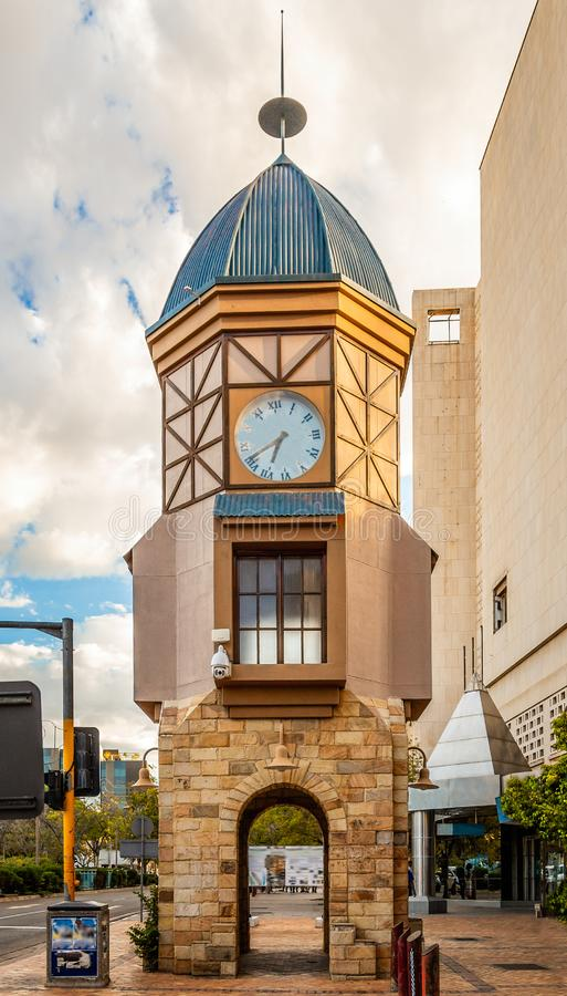 Clock tower on the street in city center of  Windhoek, Namibia stock image