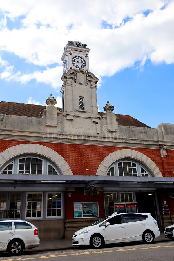 Tunbridge Wells train station in Kent. Clock tower at Tunbridge Wells train station in Kent stock image