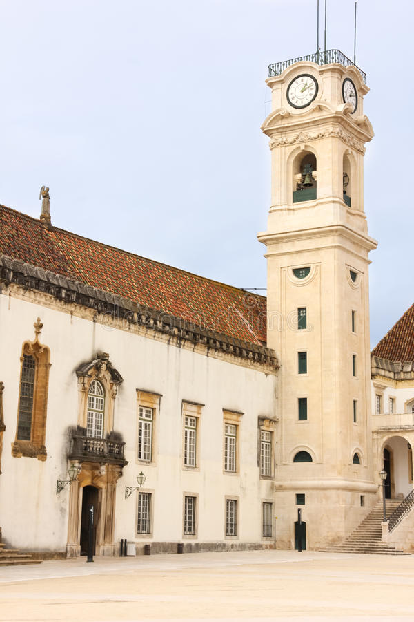 Clock tower at the University. Coimbra . Portugal royalty free stock photo