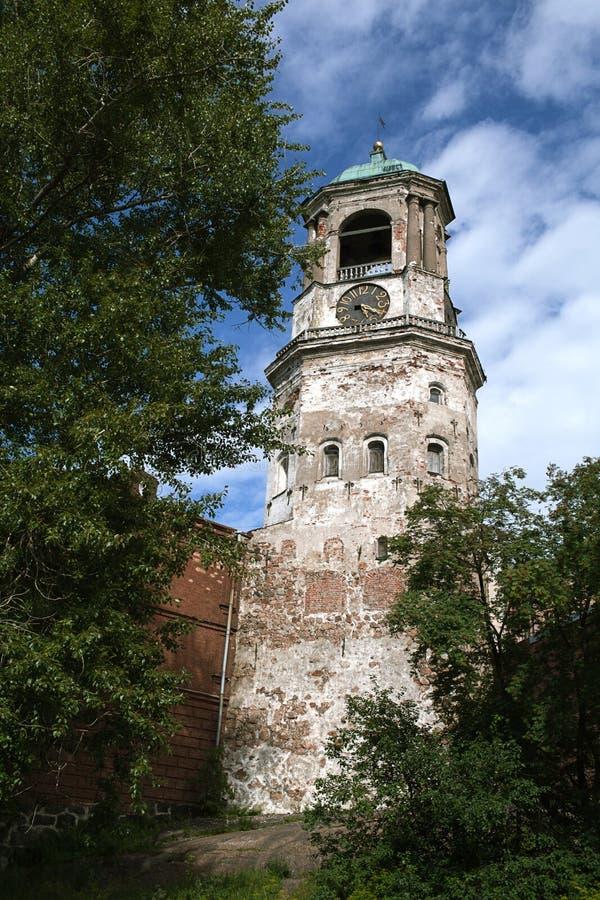 Clock tower in Vyborg stock photos